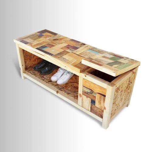 ספסל לנעליים עם תא איחסון נפתח