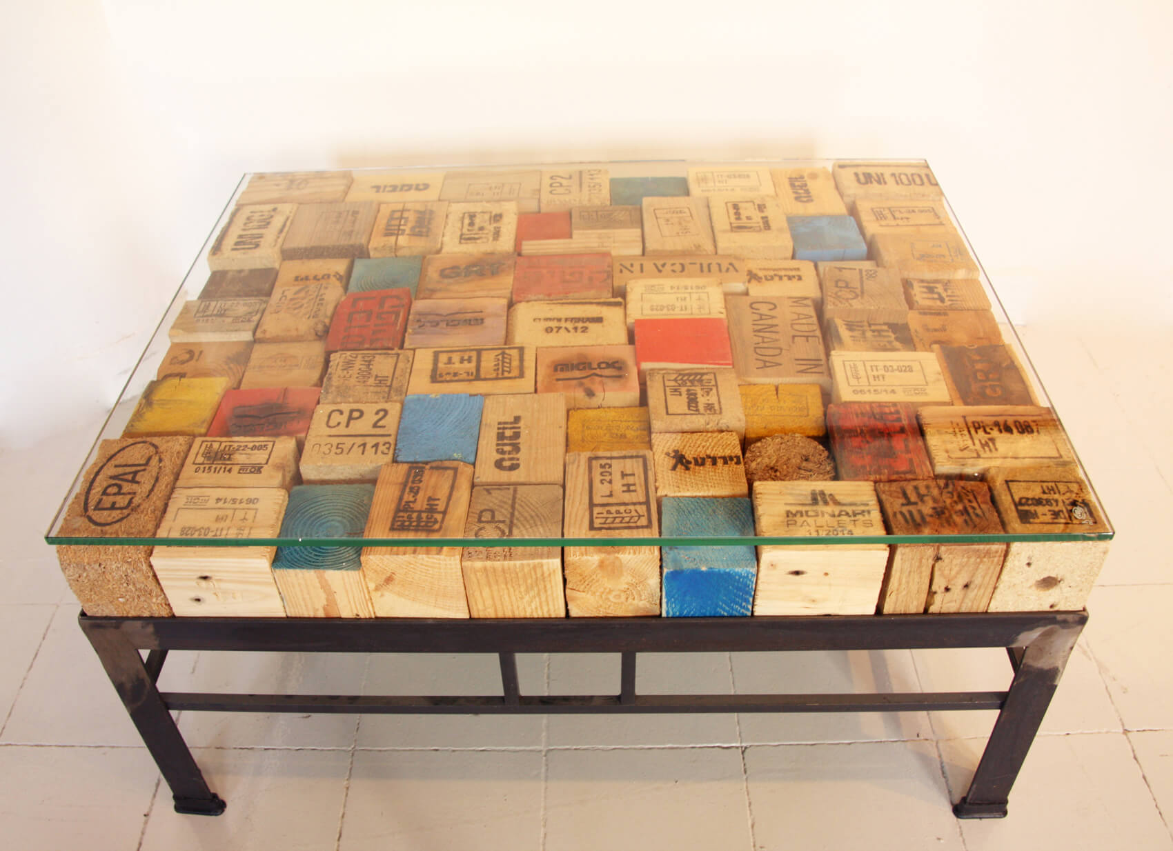 Printed Pallet blocks Coffee Table Metal base Ari Shomron Designs