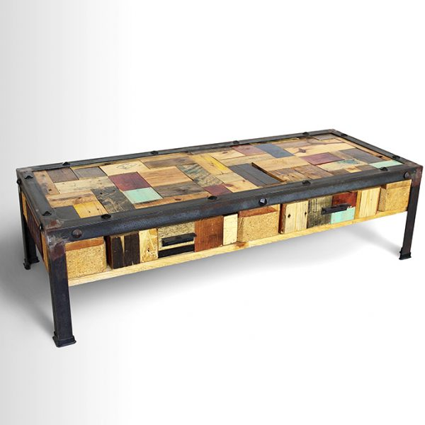 multi-colored recycled coffee table