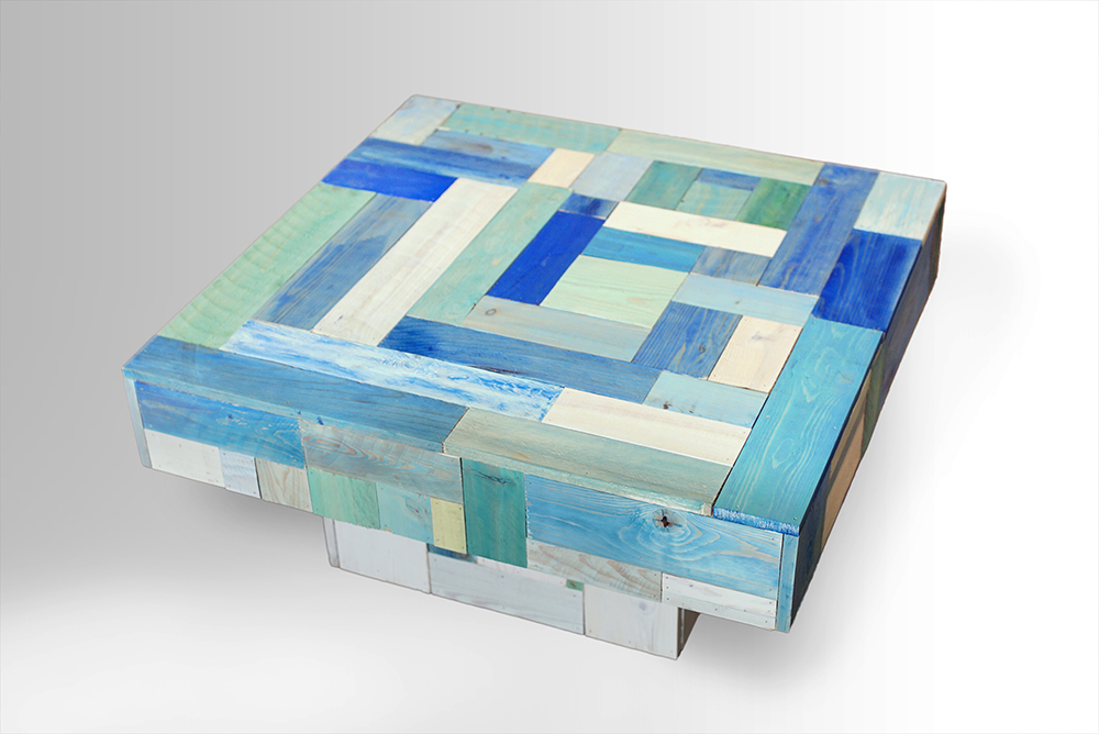 coffee tables built from recycled materials | a blend or art and