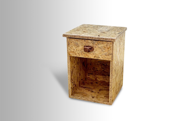 Osb Night Table W Flint Stone Handle Ari Shomron Designs