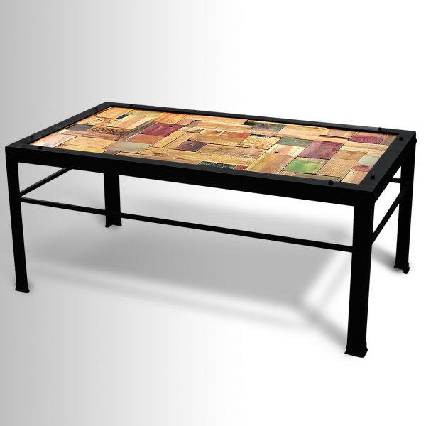 Metal frame multi-colored wood table
