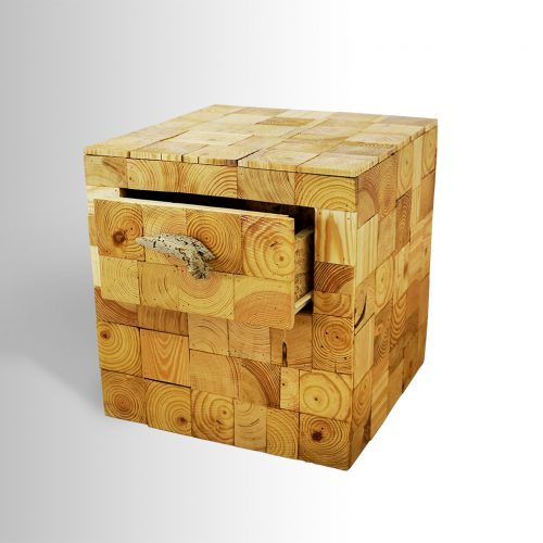 Side or Night Table made of sliced wooden poles