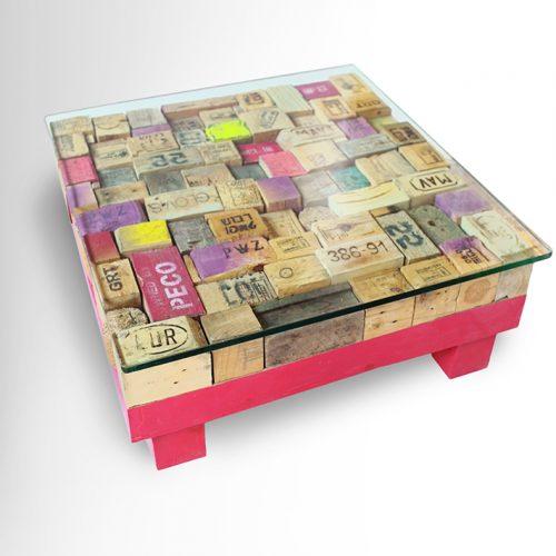 Printed Pallet-blocks Coffee Table – Wooden base